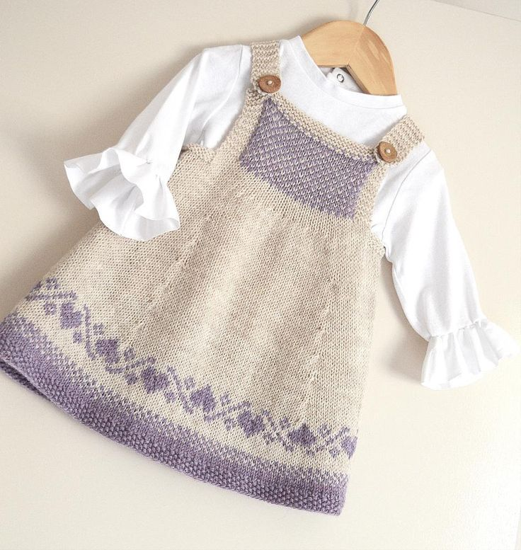 This sweet little classic Pinafore dress has absolutely no seaming! Dress bodice comes with two options, plus Charts for the hemline and Bodice. You could also knit this in plain stocking stitch, with no fair isle, which would be suitable for the Beginner knitter. If knitted in soft cotton could be worn as a little summer dress, add a t-shirt, or blouse to make the perfect little Easter dress!! Knits up beautifully in soft wool. Very versatile pattern which, could also be worn as a tunic top…