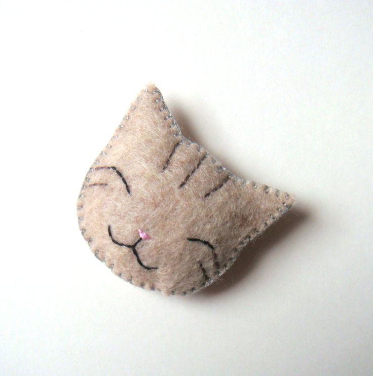 Smile Cat Animal Felt Brooch Grey Gray Tabby Cat Handmade Felt Accessory Cute & Funny. Ft4,330.01 ($14.99,), via Etsy.