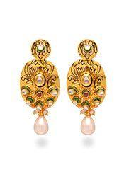 Pleasing Kundan And Beads Decked Earrings