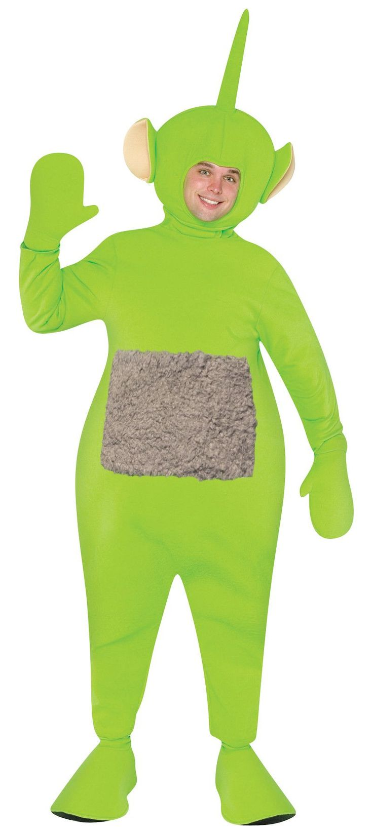 You can become your child's favorite character on the award-winning PBS children's show Teletubbies! One piece body, headpiece and boot covers. Dipsy. One size fits most adults.