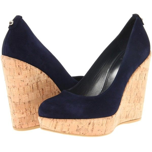 Stuart Weitzman Corkswoon (Nice Blue Suede) Women's Wedge Shoes ($255) ❤ liked on Polyvore featuring shoes, sandals, navy, navy blue wedge sandals, slip on sandals, navy wedge sandals, blue suede sandals and cork platform sandals
