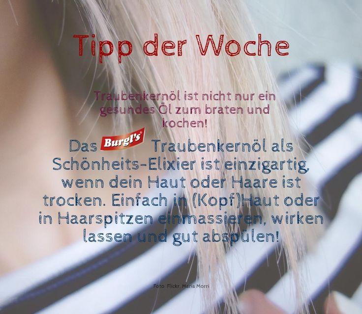 BURGL'S Tipp der Woche. Traubenkernöl ist nicht nur ein gesundes Öl zum braten und kochen! Das BURGL'S Traubenkernöl als Schönheits-Elixier ist einzigartig, wenn dein Haut oder Haare ist trocken. Einfach in (Kopf)Haut oder in Haarspitzen einmassieren, wirken lassen und gut abspülen! http://www.burgls.at/de/TraubenkernoelSelection