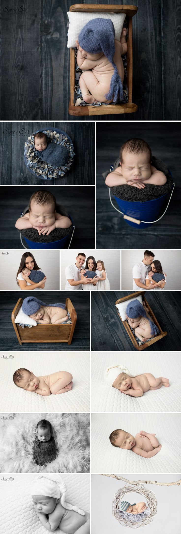8 day old Madden and his adorable navy and white themed studio newborn photo shoot using studio light. Sunny S-H Photography Winnipeg