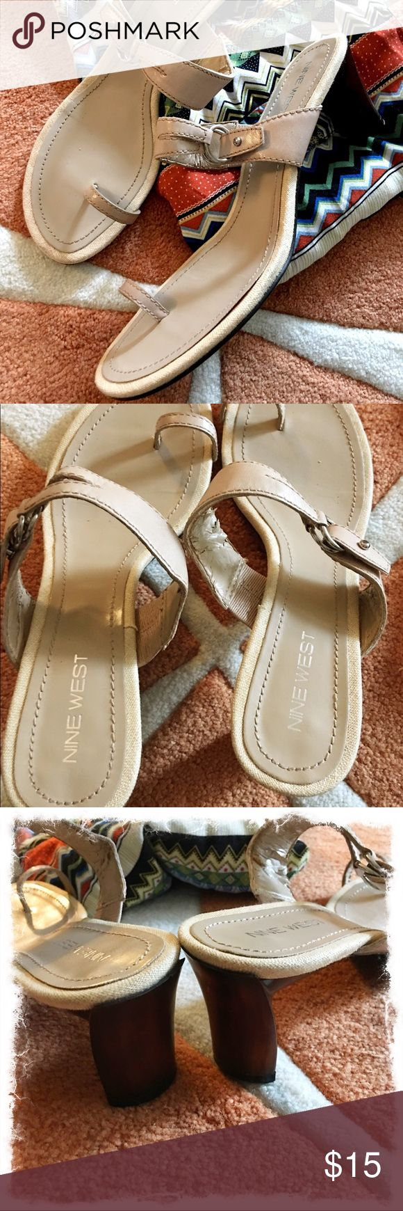 """NINE WEST Tan Sandals Cute, strappy sandals with silver clasp. Toe strap and brown wooden heel.  Leather.  Slight wear underneath top strap that is not visible when wearing. Very comfortable.  2"""" heel. Sz 7.5 Nine West Shoes"""