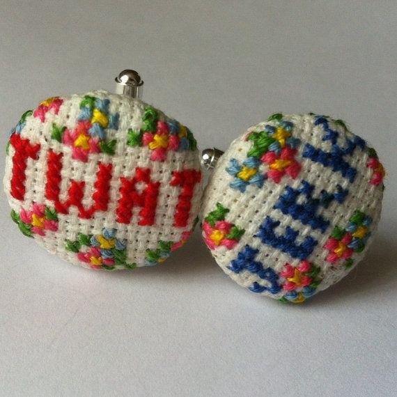 Cross stitch cufflinks