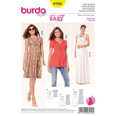 Umstandsmodell: Kleid / Shirt, Burda 6956