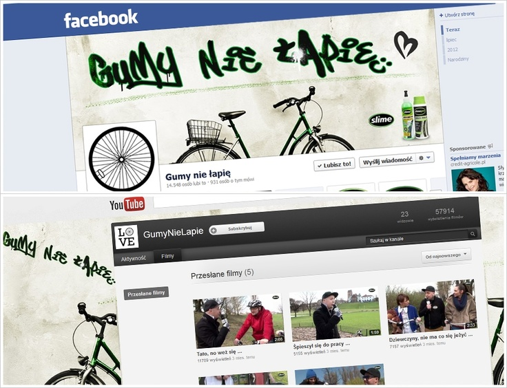 For Amtra, the distributor of Slime products, we have realized a campaign, which introduced Slime – the sealant for bicycle tires to the Polish market. The action started in the spring 2012 and will last until the end of the bicycle season. For the purpose of the campaign, we have created a fan page on Facebook, ambient actions on the bicycle paths in Warsaw and YouTube channel.    https://www.facebook.com/gumynielapie    http://www.youtube.com/gumynielapie