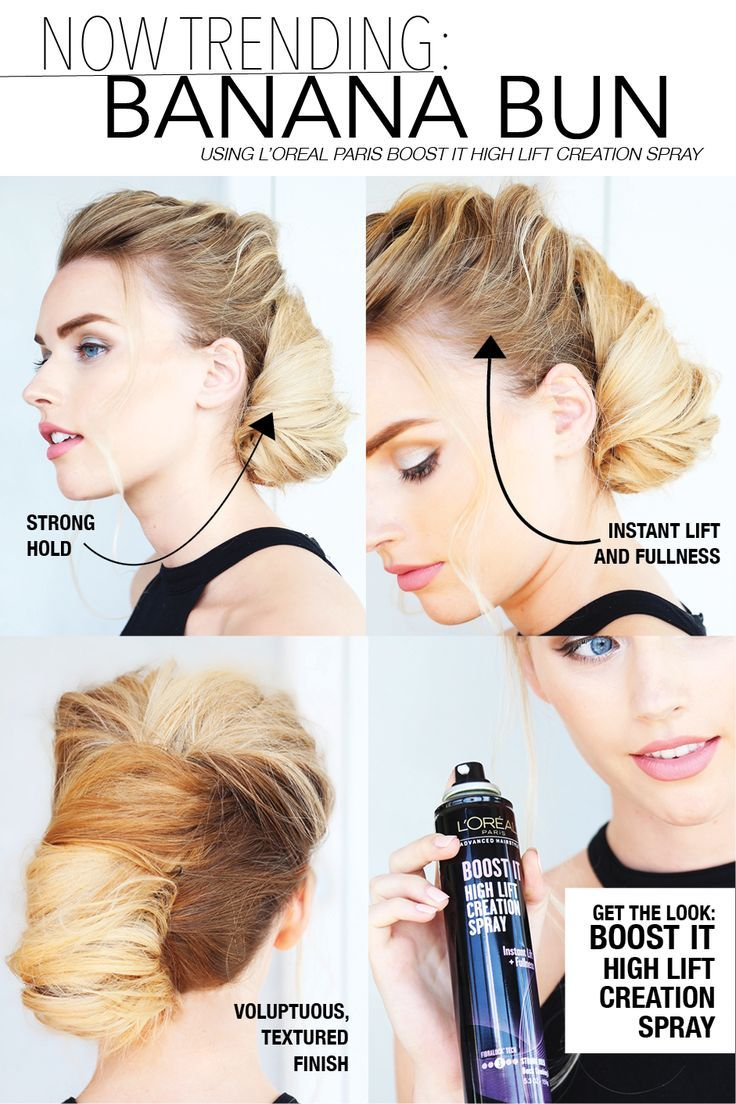 L'Oréal Advanced Hairstyle BOOST IT High Lift Creation Spray gives targeted root application with a unique fan spray for instant lift and fullness with a modern back combing effect. Strong hold boosts body on any style for voluptuous, textured look that lasts. Use it for our favorite new style -- the banana bun!