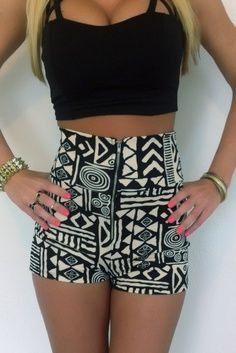HIGH WAISTED AZTEC SHORTS WITH HALF TOP