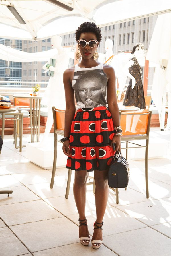 Love this combination! Grace Jones t-shirt and bold African print skirt. Great weekend look.