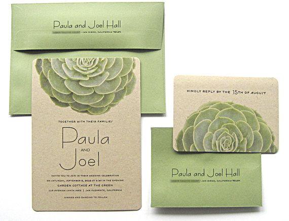 Succulent Wedding Invitations Kraft Paper Modern Garden Wedding