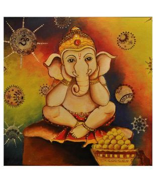 Impart Hand Painted Ganesha Painting By Pooja Sagar: Buy Impart Hand Painted Ganesha Painting By Pooja Sagar at Best Price in India on Snapdeal