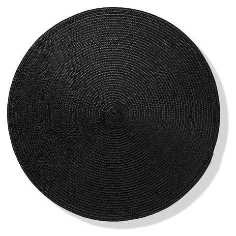 Round Placemat - Black $2.00 | This round black placemat is a stylish addition to your table settingdecor. The practical and modern placemat is made from 100%polypropylene.   Round placemat Black Made from 100% polypropylene