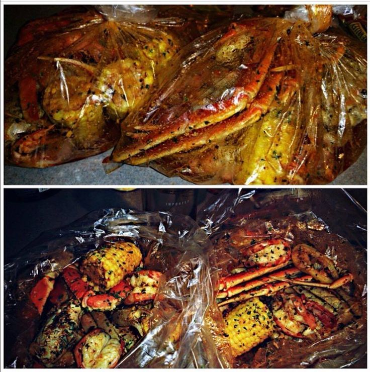 cooking crab legs. Use Fresh Lemon juice, Parsley, Butter & Fresh Garlic mixed together with some Old Bay Seasoning.. Pour all over Red Potatoes, Corn & Seafood which I use Shell on Shrimp, Lobster Tail, Crab Legs & Andouile sausage.. Secure bag tightly place in or on baking pan & bake Low & Slow.. I use 350 for about 45 minutes that usually works fine then turn it up to about 450 for 15 minute to make sure corn & potatoes are fully cooked especially if the potatoes are not cut into small…