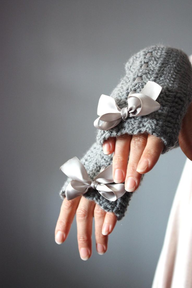 Crochet Fingerless Gloves Mittens Arm Warmers