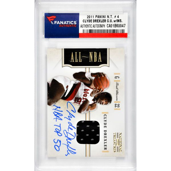 Clyde Drexler Portland Trail Blazers Fanatics Authentic Autographed 2011 Panini #4 Card with NBA Top 50 Inscription and Piece of Game-Used Jersey - $139.99