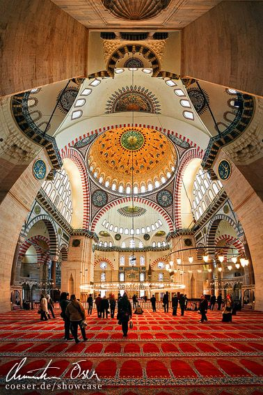 Innenansicht der Süleymaniye-Moschee in Istanbul, Türkei.