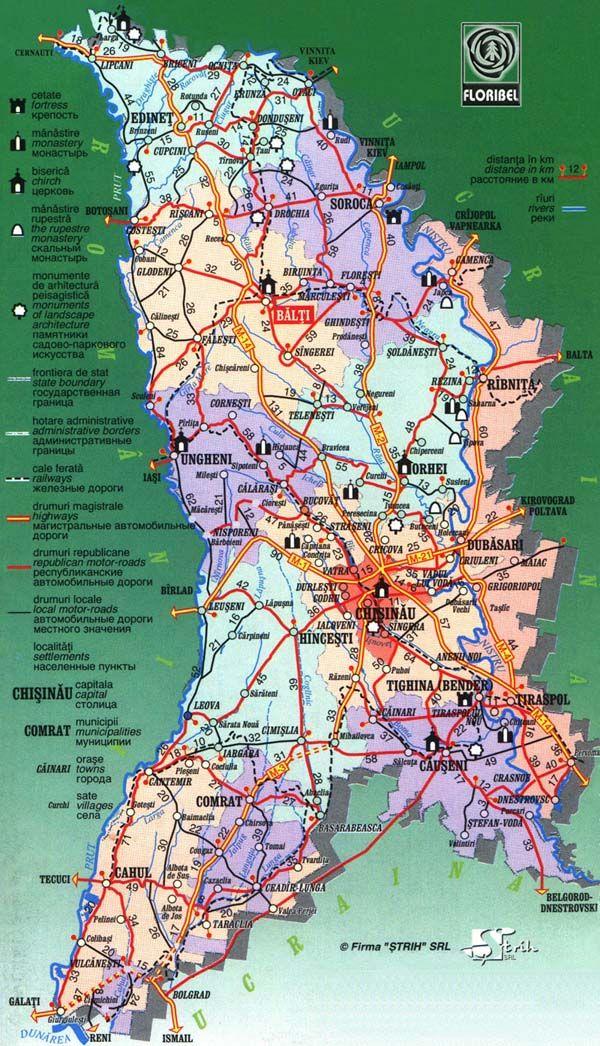 Road and travel map of Moldova u003eu003eu003e
