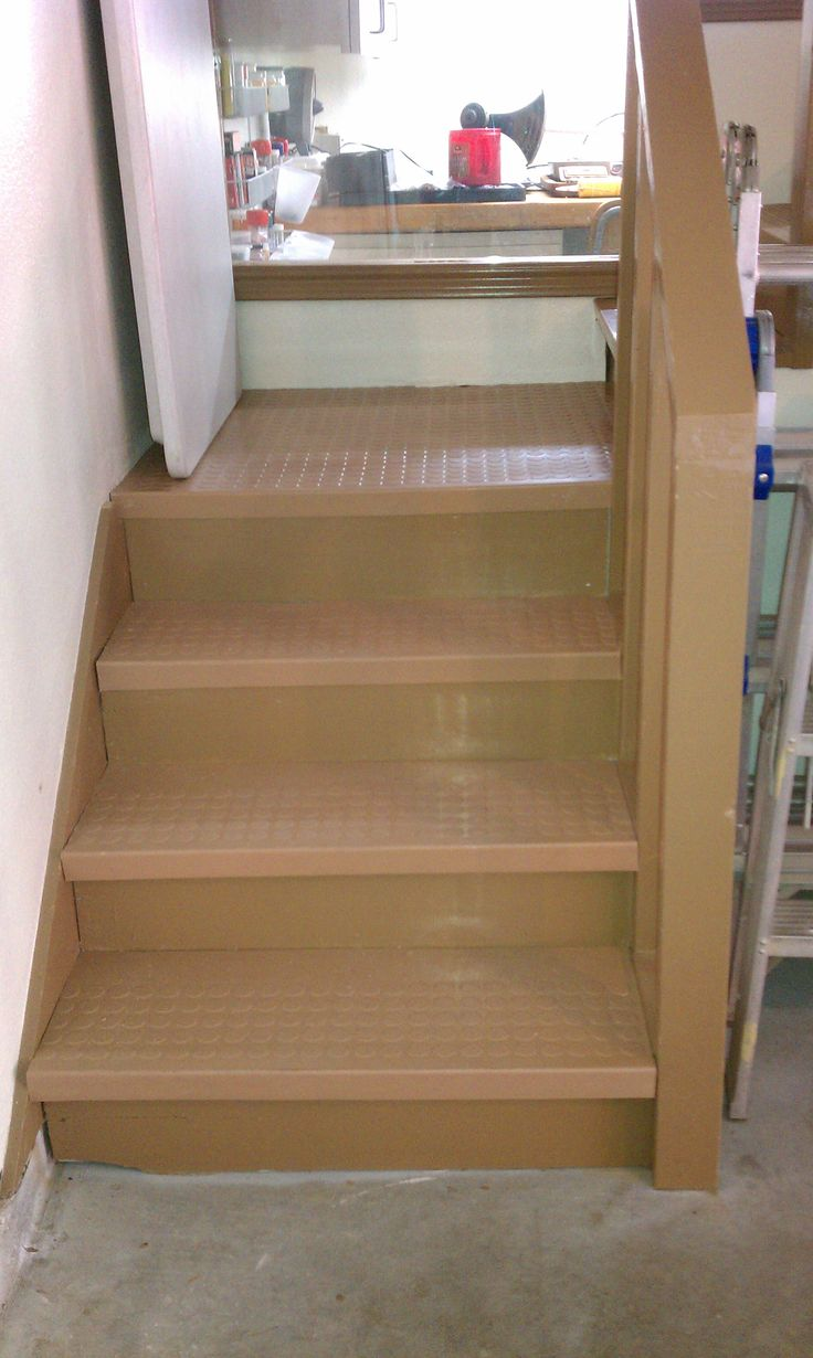 We Painted Our Attic Staircase And Finished Off The Stairs And Landing With  Roppeu0027s Rubber Treads And Tiles. Slip Resistant, And Softer To Fall On When  ...