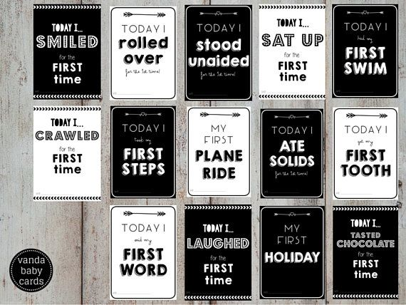 Printable Baby Milestone Cards - Instant Download, Set of 14. Babys First Year Photo Props - Moments Only | MONOCHROME. Babys Firsts    Printable