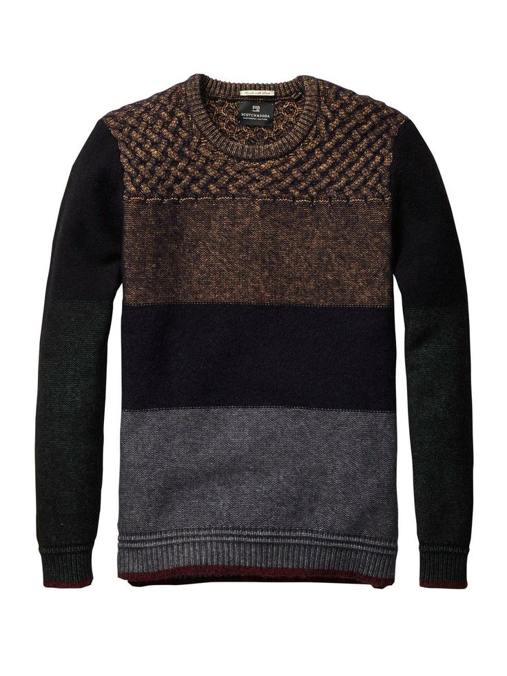 colour block crew neck pull mannenkleding pullovers. Black Bedroom Furniture Sets. Home Design Ideas