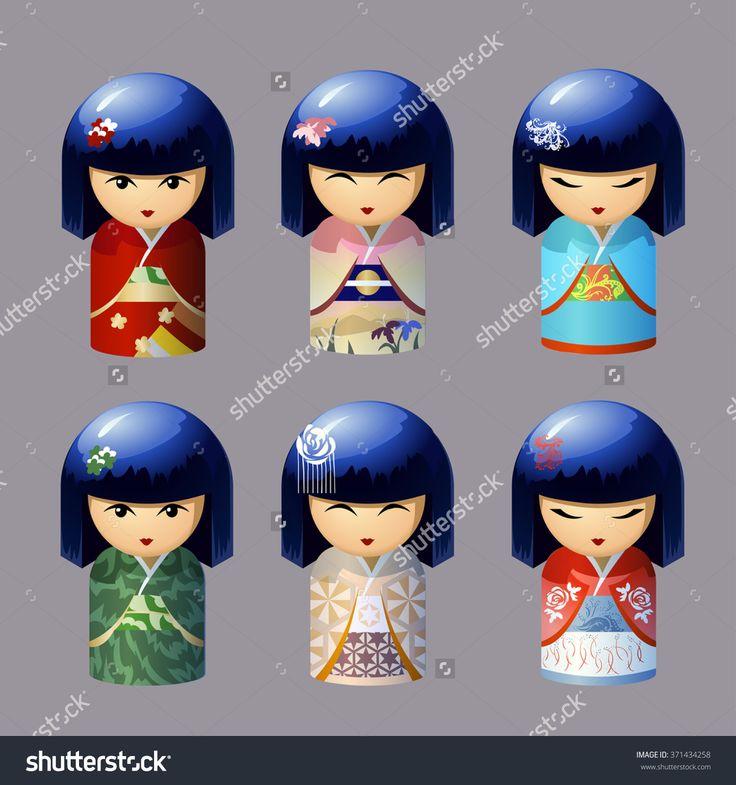 Set of Traditional Japanese Dolls Kokeshi . icons
