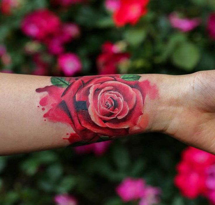 Pink Vintage Traditional Rose Wrist Tattoo for Women - MyBodiArt.com