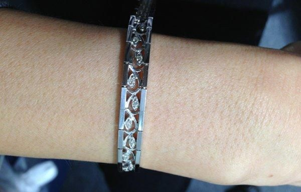 Luxinelle 1 2 Carat Diamond Bracelet With Curved Inlay Eye 14k White Gold Tennis Bracelet 7 25 Inches Diamond Bracelet White Gold Bracelet Diamond