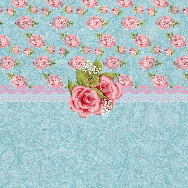 fond bleu avec roses
