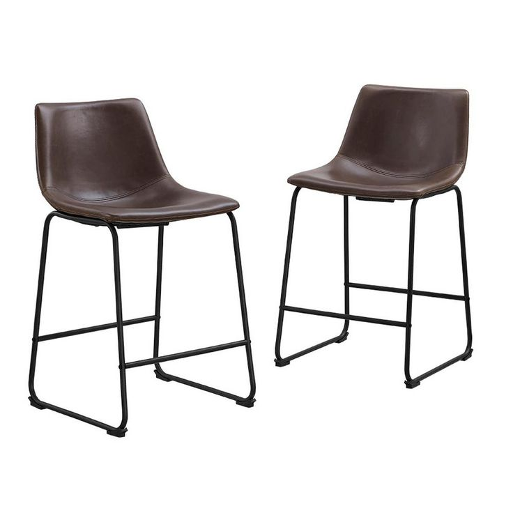 Walker Edison Furniture Company Wasatch Faux Leather Counter Stools in Brown (Set of 2)