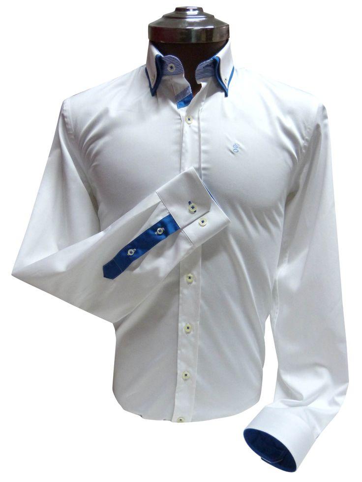 Camisa Blanca 100% algodón, detalle de doble cuello y aplicaciones en Azul. Ehgho - Perú
