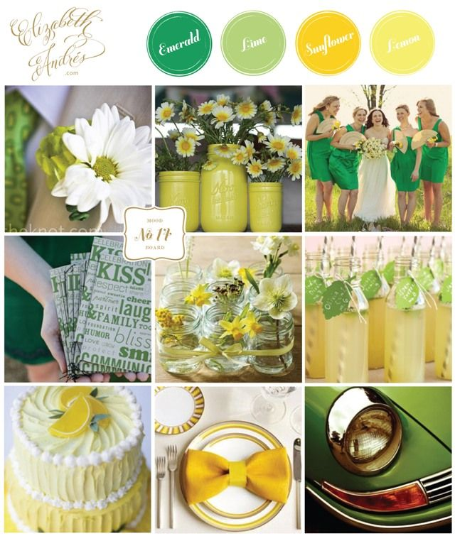 Wedding Inspiration Mood Board #14 {Emerald, Lime, Sunflower, Lemond} by Elizabeth Andres Designs in Dubai.: Emerald Green, Emeralds Green, Spring Summer, Summer Wedding Colors, Bright Spring, Colors Schemes, Summer Weddings, Wedding Color Palettes, Wedding Colors Palettes