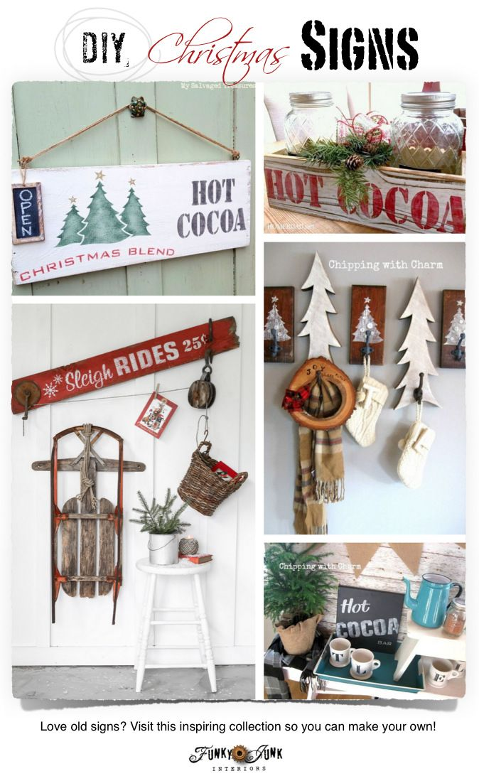 PJ 309 features DIY Christmas signs! Love vintage or old signs? Get inspired with these features and link party so you can make your own reproduction signs!