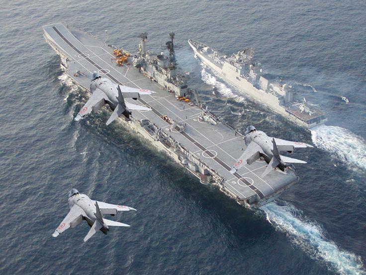 Harriers over INS Viraat and a Talwar-class frigate, Jizag International Fleet Review, 2016 [1600 x 1200]