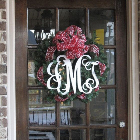 Monogram Front Door Decoration: Unfinished Vine Monogram Door Hanger