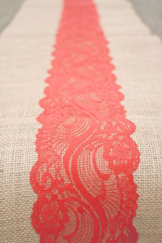 Beach Coral, Orange, Coral, Vermillion,  Lace, Burlap Runner 12x108.  Country, Preppy,  Beach Wedding, or  Indian Wedding