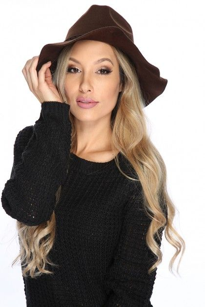 Add this stylish hat for a finishing touch featuring; braided trim detail, homburg style, and one size fits most. Approximately 25 inch circumferences 3inch brim.