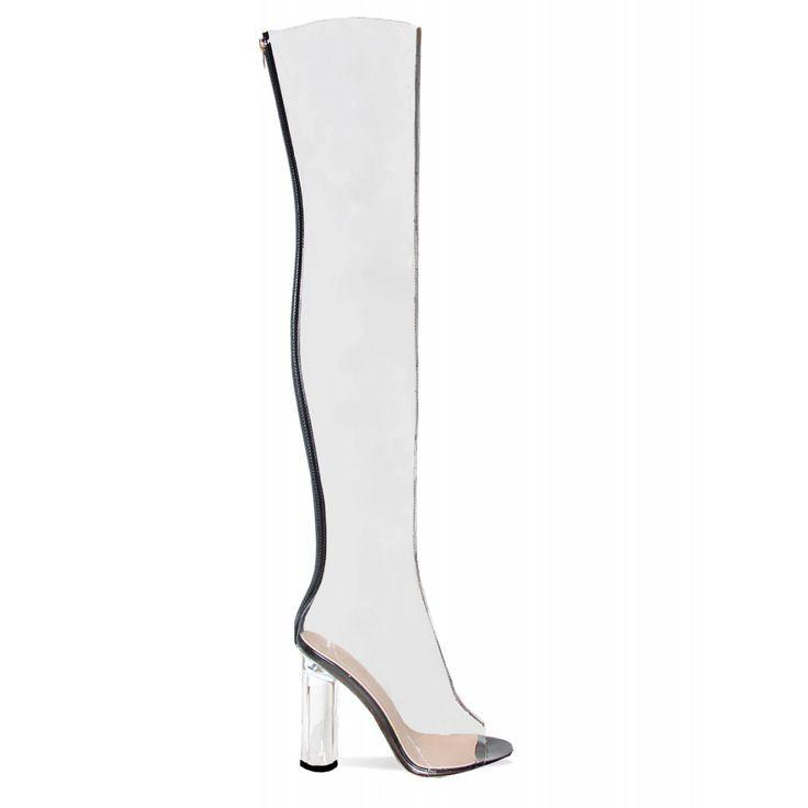 Amra Clear Black Transparent dij hoge laarzen: Simmi Schoenen