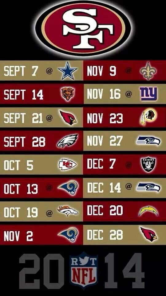 SF 49ers 2014 Season Schedule - Football - Schedule -  SF 49ers - Getting ready for the season!