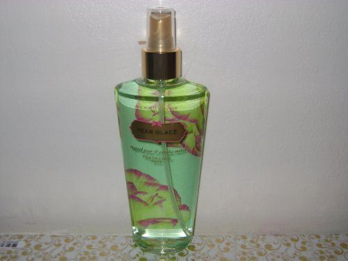 Victoria's Secret Fantasies Pear Glace Body Mist (New Look) 8.4 oz by Victoria's Secret. $6.00. A sparkling blend of pear nectar, cassis, and violet, with hints of muguet and sandalwood. Refresh with fragrance from a Secret Garden, infused with moisturizing Aloe Vera and calming Chamomile. Mist over body after shower or bath for delicately scented skin.