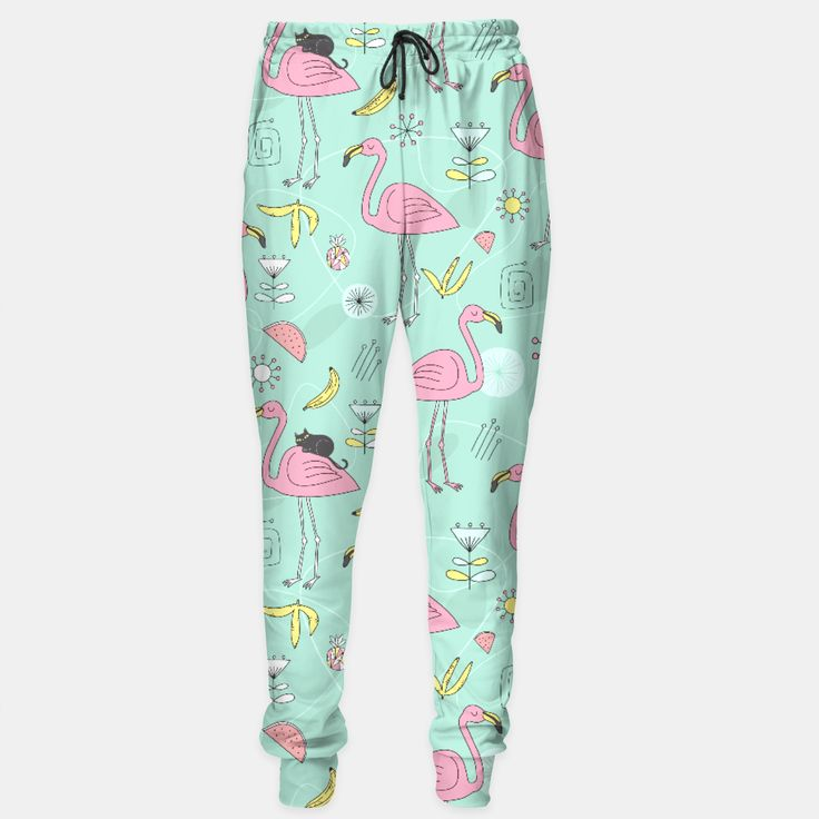 Flamingo and Black cat Sweatpants by Anna Alekseeva 54.95€