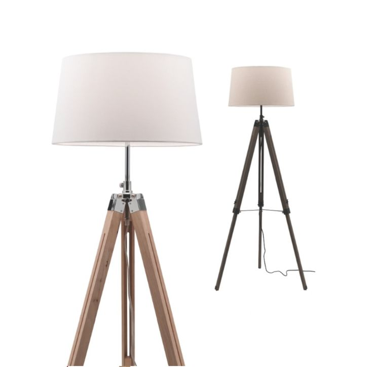 Douglas floor lamp timber tripod body with linen shade mercator a86721 269 00