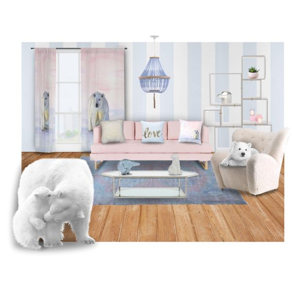 Polar bear living room decor by @savousepate on Polyvore #polarbear #polarbears #bear #bears #homedecor #livingroom #lounge #pink #blue #pastelpink #lightpink #rosequartz #lightblue #periwinkle #serenityblue