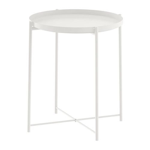 IKEA - GLADOM, Tray table, white, , You can use the removable tray for serving.The tray's edges make it easy to carry and reduces the risk of glasses or bowls sliding off.The surface is durable and easy to clean, since it's made from powder-coated steel.You can easily lift and move the entire table, for example from the sofa to the reading chair.