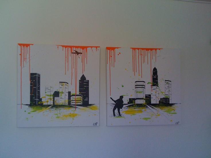 Acryl Painting - City Life