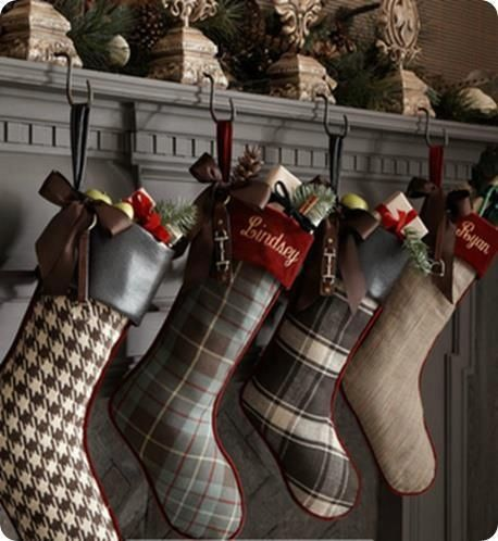 Plaid Christmas stockings make out of old blankets or sweaters!