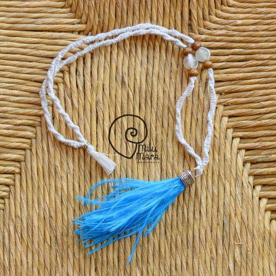 Ketting macrame Boho stijl met hemelsblauw kwast en Agaat
