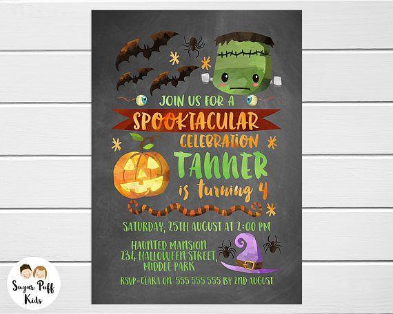 Kids Chalkboard Halloween Birthday Invitation Scary Birthday