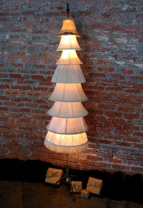Lampshade Christmas Tree. Gloucestershire Resource Centre http://www.grcltd.org/scrapstore/ Could use lap shade as a skirt for an angel?