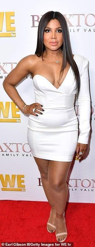 Toni Braxton Dons White Mini Dress And Kisses Her Son